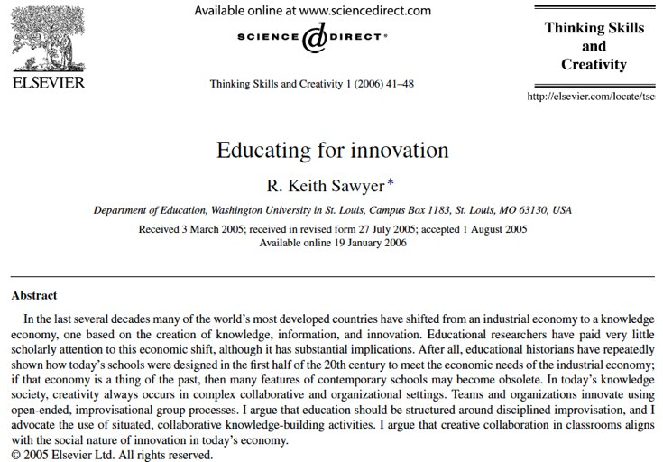 EDUCATING FOR INNOVATION